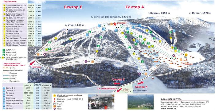 Карта курорта Шерегеш