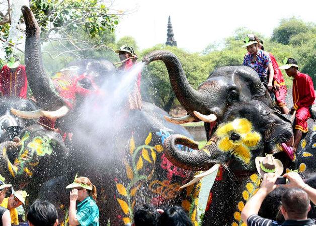 Тайский Новый Год - празднование со слонами