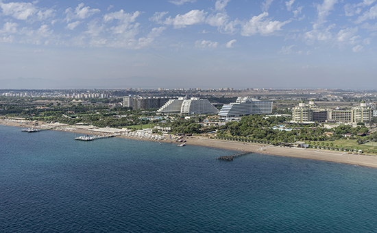 Large hotel complexes by the beach, Antalya, Turkey, Asia