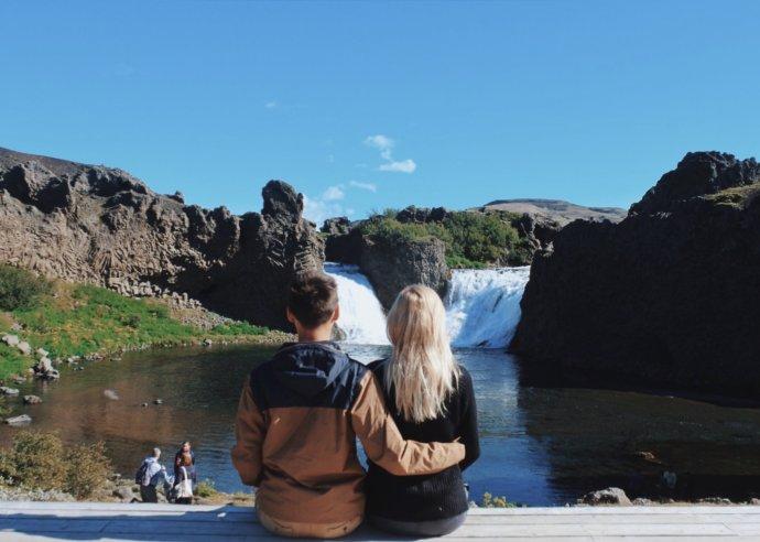 Двойной водопад в Исландии