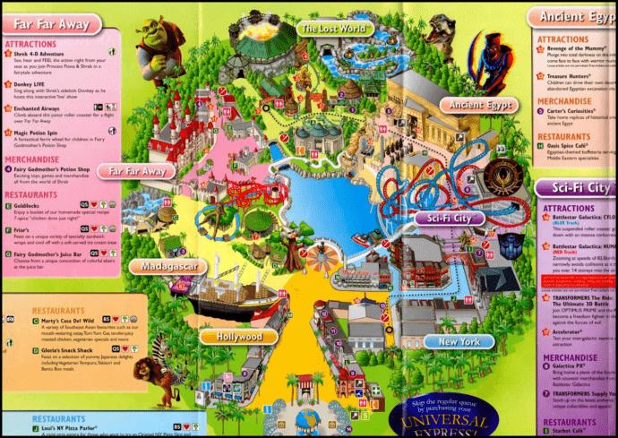 Карта парка Юниверсал Сингапур