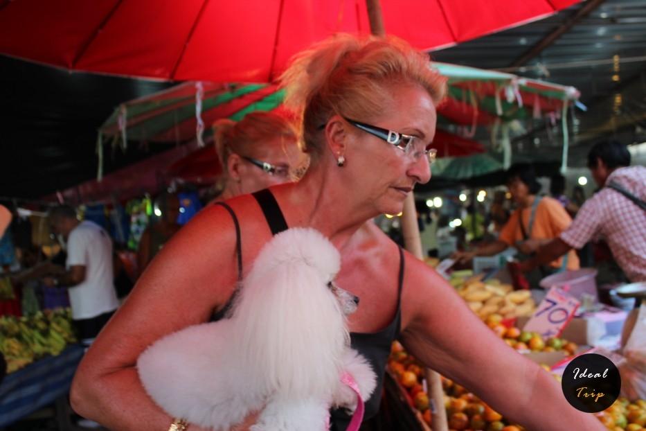 Женщина с пуделем выбирает еду на Пхукете