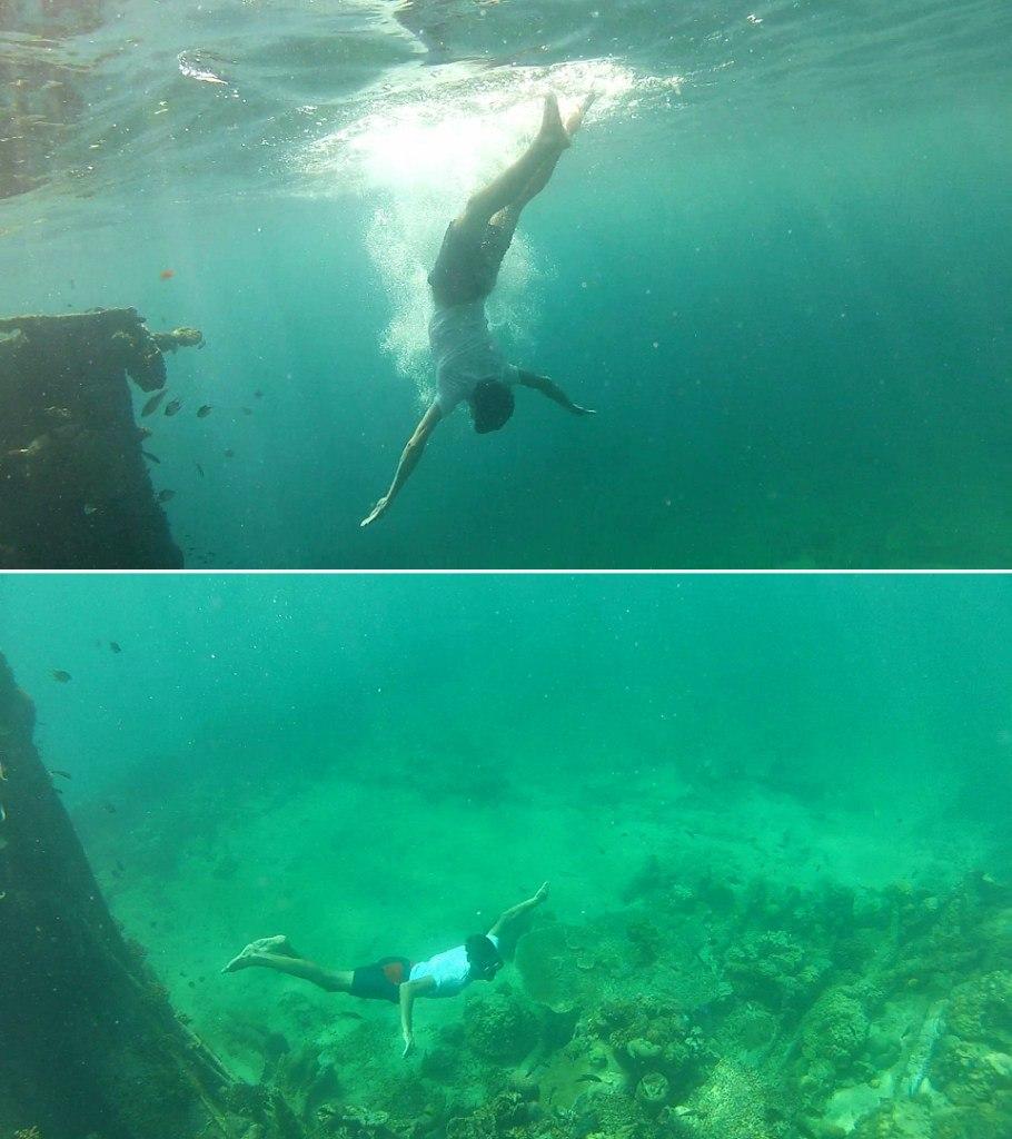 Паша ныряет на дно моря неподалеку от острова Реданг