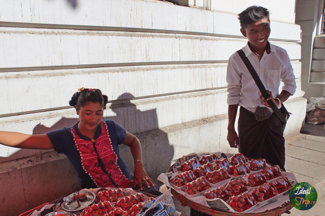 Мьянмарская продавщица клубники