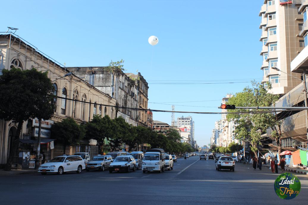Перекресток в центре гоода Янгон