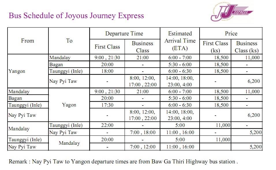 Расписание автобусов в Мьянме