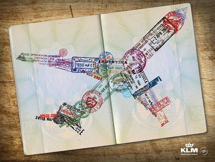 Штампы в паспорте в виде самолета