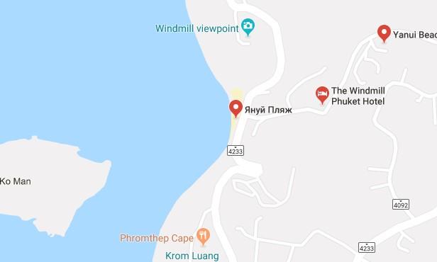 Пляж Януи на карте