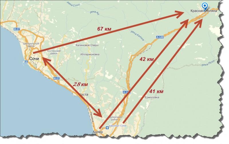 Расстояние из Сочи и Адлера до Красной поляны