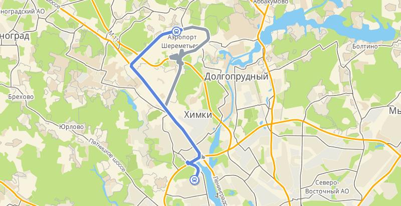 Какдобираться от метро «Речной вокзал» доаэропорта Шереметьево?