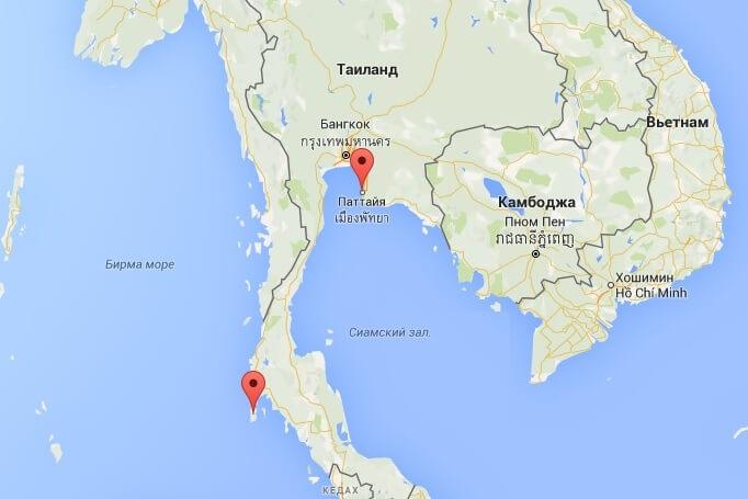 Паттайя и Пхукет на карте