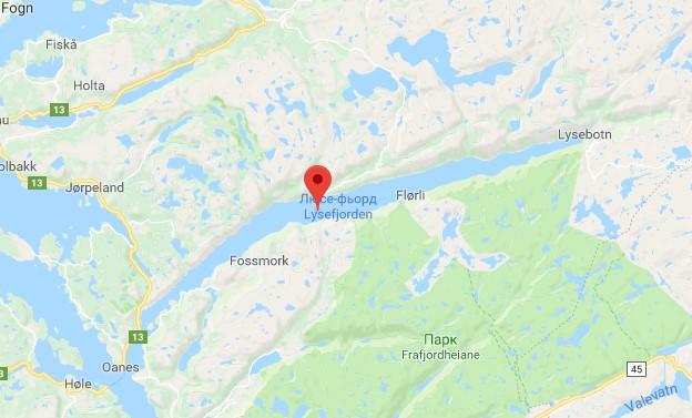 Люсе-фьорд на карте