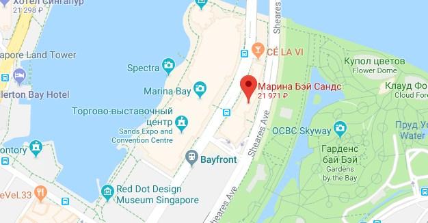 Марина Бей Сендс на карте