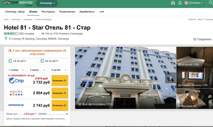 Отзывы об отеле на tripadvisor