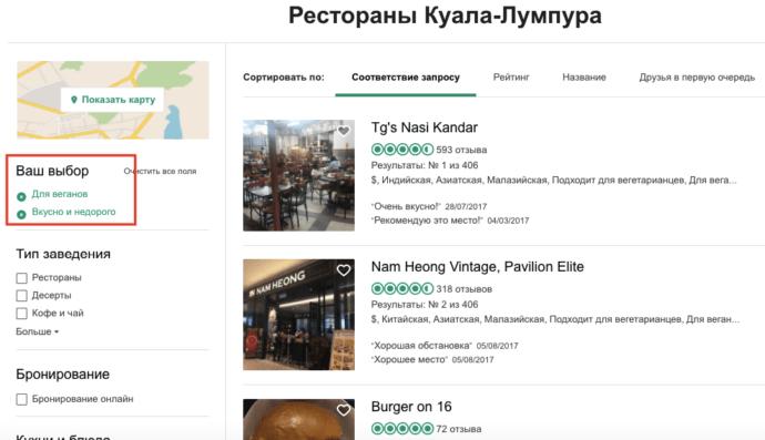 Трипадвизор - рестораны